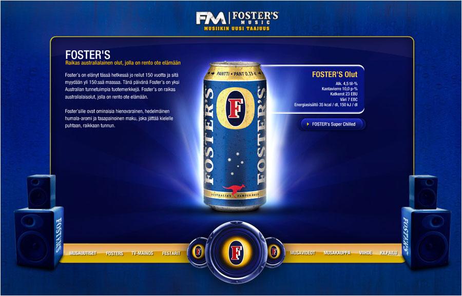 Foster's Music kampanjasivusto