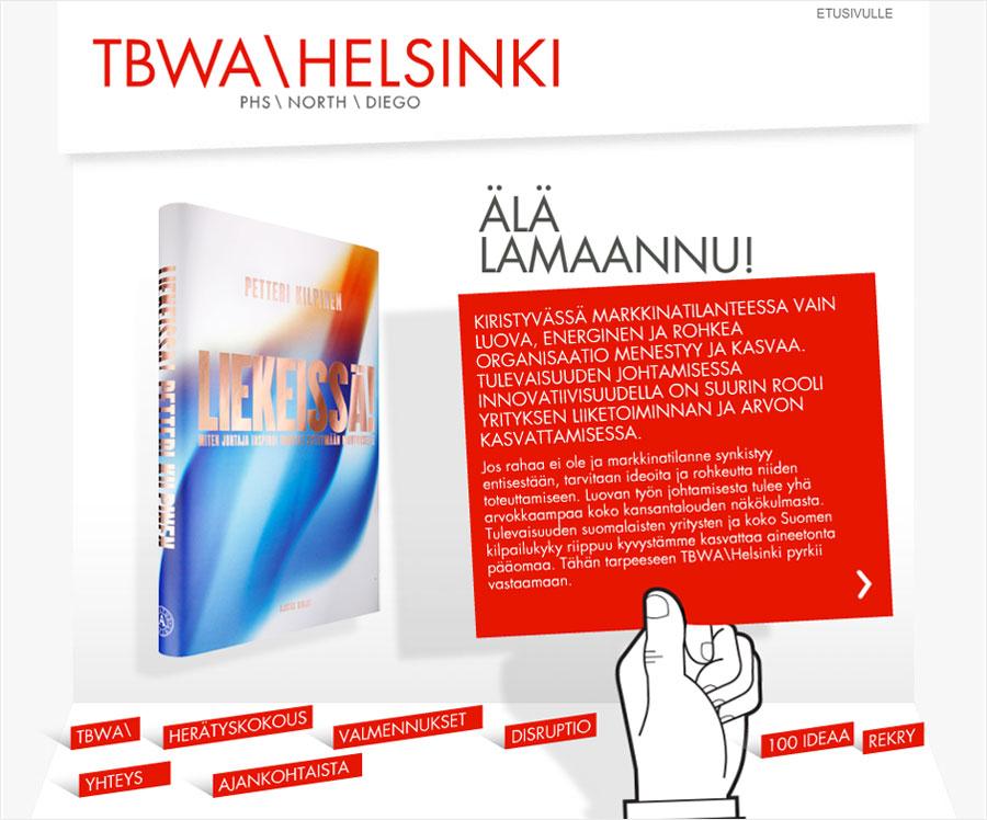 Kuuluisan TBWA:n Suomen sivuston toteutus