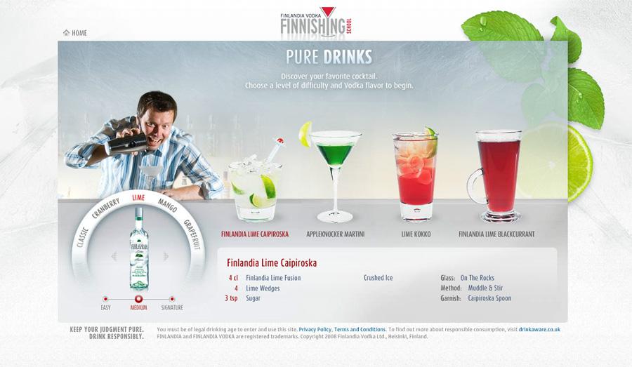 Drinkkisivusto Finlandia Vodkalle